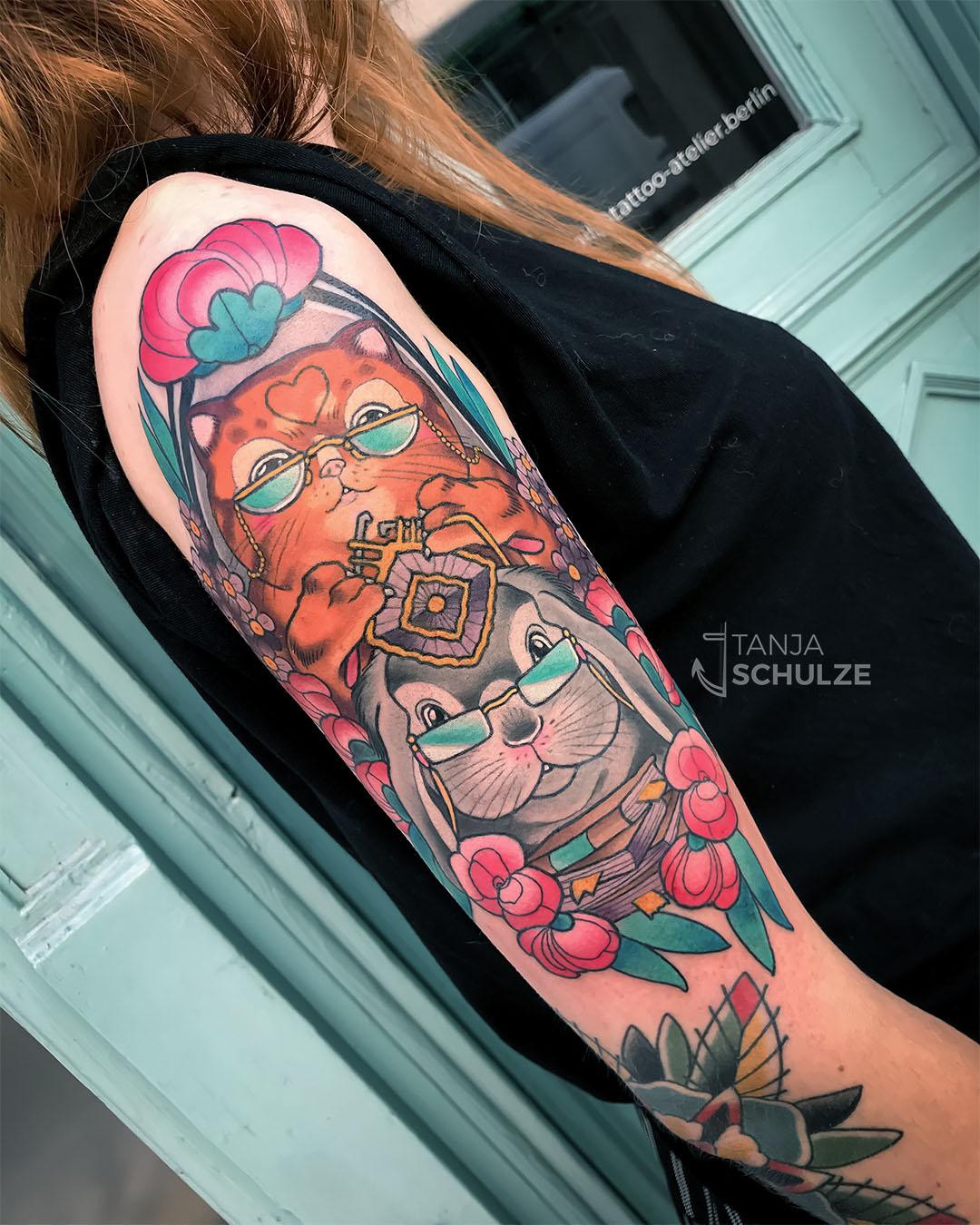 Tattoo Omi-Katze & Opi-Kaninchen